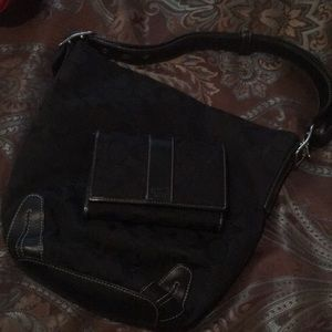 Coach black bag and matching wallet
